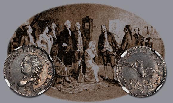 I coniugi Washington assistono alla coniazione dei primi Half Dismes